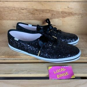 KATE SPADE Black Glitter Keds Sneakers 9